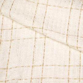 Tissu tweed blanc cassé et lurex or x 10 CM