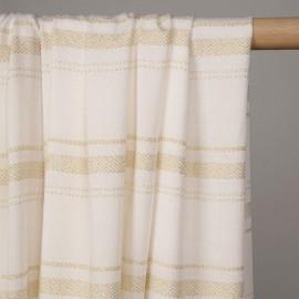 Tissu viscose blanc motif bandes tissées lurex or - pretty mercerie - mercerie en ligne