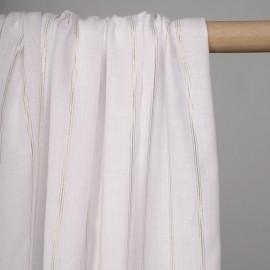 Tissu coton blanc motif bandes 3 lignes tissées or - pretty mercerie - mercerie en ligne