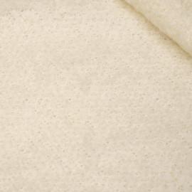 Tissu maille mohair bouclé blanc cassé x 10cm