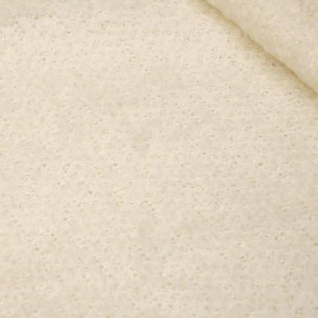 Tissu maille mohair bouclé blanc cassé - pretty mercerie - mercerie en ligne