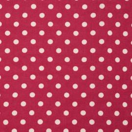 Tissu viscose rouge persan à motif pois blanc cassé - pretty mercerie - mercerie en ligne