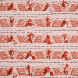 Tissu jacquard à bandes et franges ginger rose et blanc - pretty mercerie - mercerie en ligne