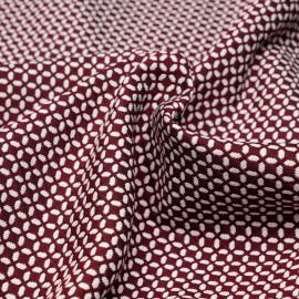 Tissu jacquard lie de vin à motif graphique blanc - pretty mercerie - mercerie en ligne