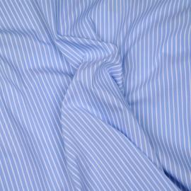 Tissu coton raye bleu clair et blanc x 10cm