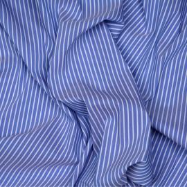 Tissu coton raye blue jean et blanc x 10cm