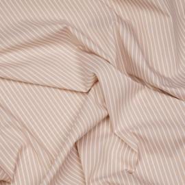 Tissu coton raye beige et blanc x 10cm