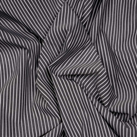 Tissu coton raye gris anthracite et blanc x 10cm