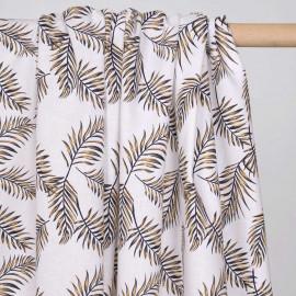 Tissu coton et lin motif feuilles de palmier jaune et noir - pretty mercerie - mercerie en ligne