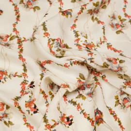 Tissu viscose blanc cassé à lignes et motifs fleuris x 10 cm