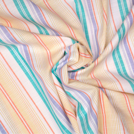 Tissu coton blanc motif rayures jaunes, corails, verts d'eau et bleues x 10cm