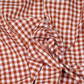 Tissu coton vichy tissé brique et blanc x 10cm