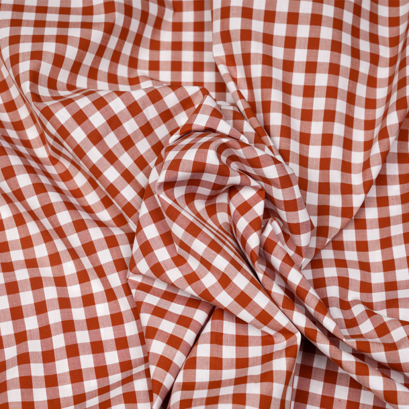 Tissu coton vichy tissé brique et blanc - pretty mercerie - mercerie en ligne