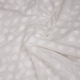 Tissu coton blanc motif brodés queue de paon x 10cm