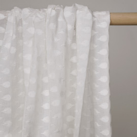 Tissu coton blanc motif brodés queue de paon -pretty mercerie - mercerie en ligne