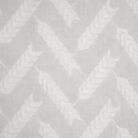 Tissu coton blanc motif brodés épis de blé