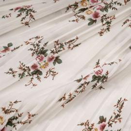 Tissu plissé blanc à motif fleuri x 10 cm