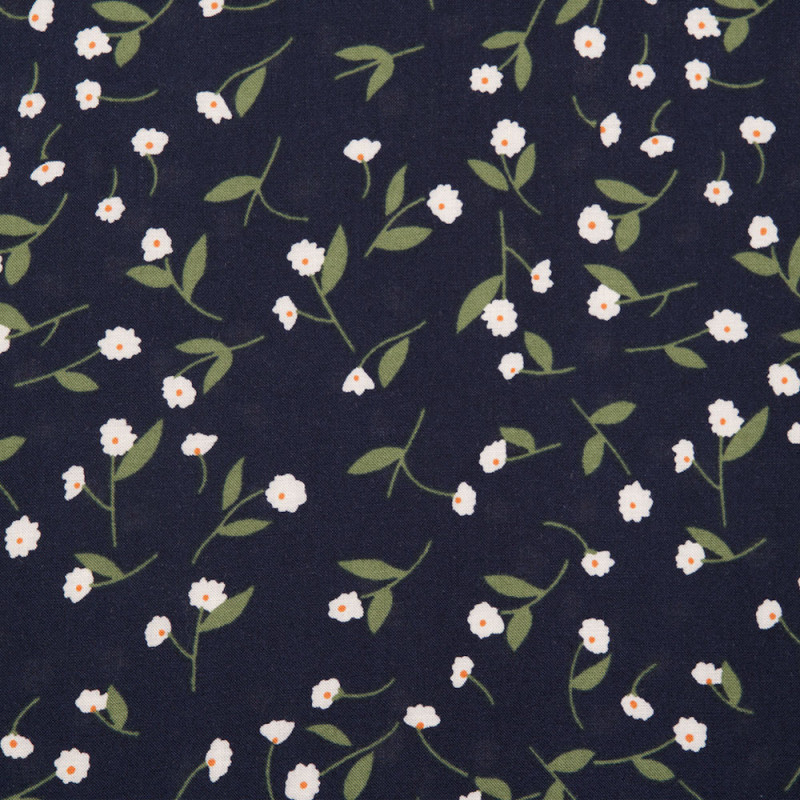 Tissu viscose bleu marine à motif petites fleurs blanches et vertes - pretty mercerie - mercerie en ligne