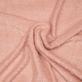 Tissu maille mohair bouclé rose vieilli x 10cm