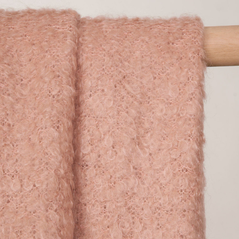 Tissu maille mohair bouclé rose vieilli - pretty mercerie - mercerie en ligne