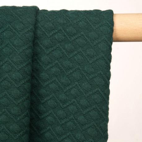 Tissu matelassé jersey vert bistro à motif zig zag et pois - pretty mercerie - mercerie en ligne