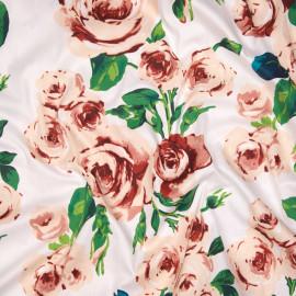 Tissu coton sergé blanc à motif fleurs de roses x 10cm