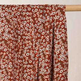 Tissu viscose brique à motif fleurs marguerites blanches - pretty mercerie - mercerie en ligne