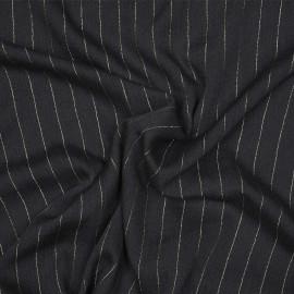 Tissu gaze viscose noir à motifs tissé rayures lurex or X 10 CM