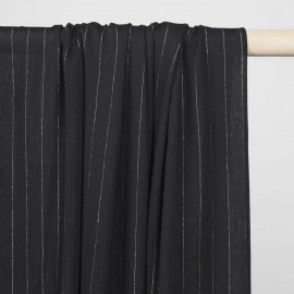 Tissu gaze viscose noir à motifs tissé rayures lurex or - pretty mercerie - mercerie en ligne