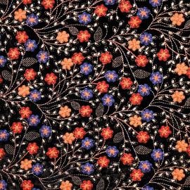 Tissu velours noir à motif brodé fleuri et fil lurex or - pretty mercerie - mercerie en ligne