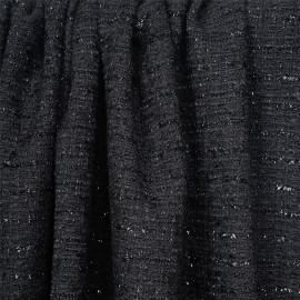 Tissu tweed noir mat et fils brillants noir - pretty mercerie - mercerie en ligne