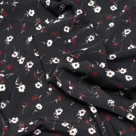 Tissu noir motif fleurs rouges tango, blanches et taupes x 10 CM