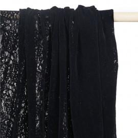 Tissu dentelle velour noir motif fleuri - pretty mercerie - mercerie en ligne