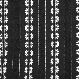 Tissu coton noir à motifs tissés blanc et bandes ajourées - pretty mercerie - mercerie en ligne