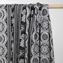 Tissu viscose noir motif indian spirit blanc - pretty mercerie - mercerie en ligne