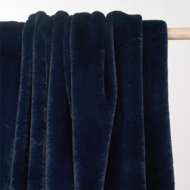 Tissu fausse fourrure bleu pétrole x 10cm