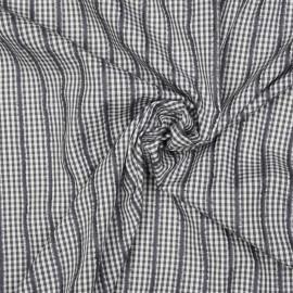 Tissu coton blanc et gris à motif vichy et lignes velours x 10cm