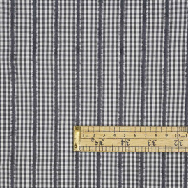 Tissu coton blanc et gris à motif vichy et lignes velours - pretty mercerie - mercerie en ligne