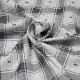 Tissu coton sergé gris à motif carreaux et plumetis x 10cm