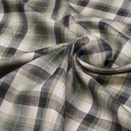 Tissu coton et viscose à motif tartan et fil lurex or x 10cm