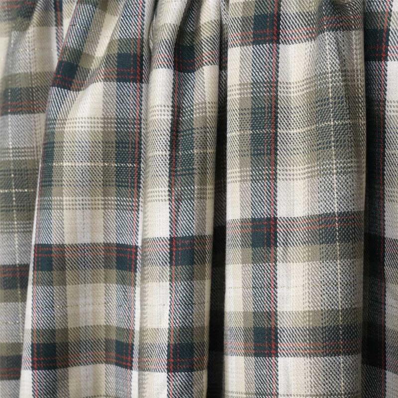 Tissu coton et viscose à motif tartan et fil lurex or - pretty mercerie - mercerie en ligne