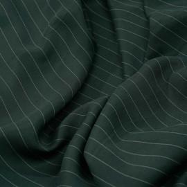 Tissu tencel sergé vert foncé à motif rayures pointillés x 10cm