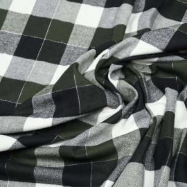 Tissu Flanelle de coton à carreaux et chevrons noir vert blanc cassé et fil argent x 10cm