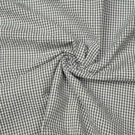 Tissu coton seersucker vichy vert olive et blanc x 10cm