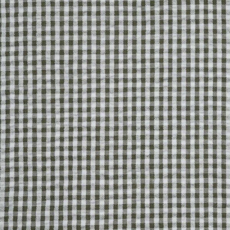 Tissu coton seersucker vichy vert olive et blanc - pretty mercerie - mercerie en ligne