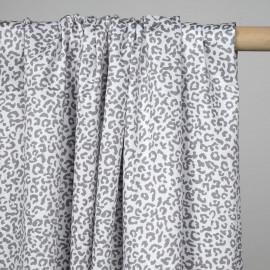 Tissu coton blanc à motif taches leopard grises - pretty mercerie - mercerie en ligne