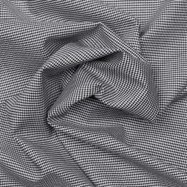 Tissu coton et lycra motif pieds de poule tissé noir et blanc x 10cm