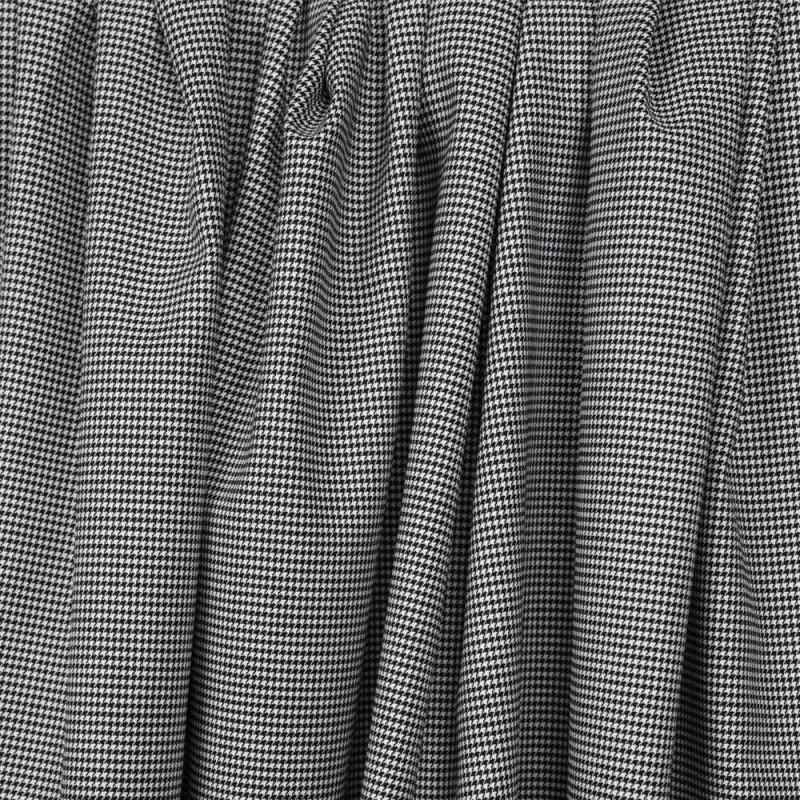 Tissu coton et lycra motif pieds de poule tissé noir et blanc - pretty mercerie - mercerie en ligne