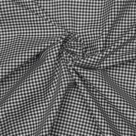 Tissu coton et lycra motif vichy tissé noir et blanc x 10cm
