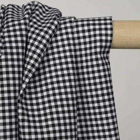 Tissu coton et lycra motif vichy tissé noir et blanc - pretty mercerie - mercerie en ligne
